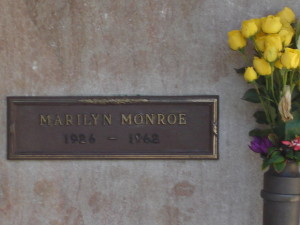 Marilyn's grave in Brentwood, not far from where she lived - and died. In MY version of Hollywood MARILYN LIVES - still working and married Many (MANY) times!