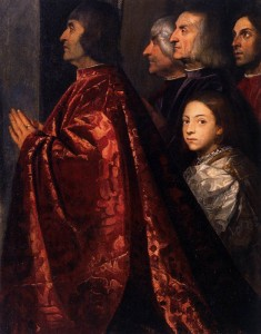 Here's a detail from a famous painting by Titian, housed in the Frari church in Venice. Would this make a good cover for the book?